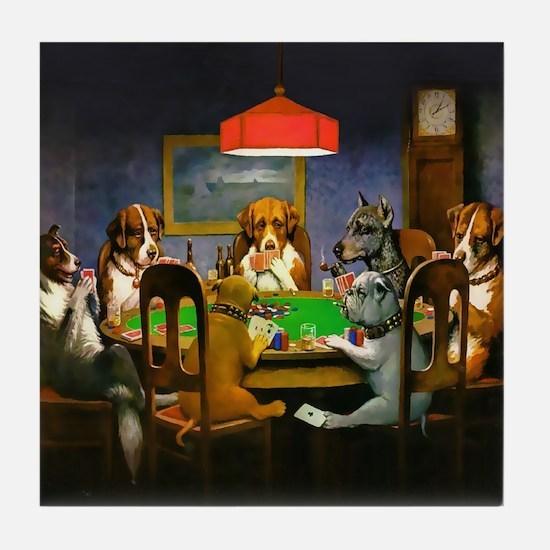Poker Dogs Friend (brown Border) Tile Coaster