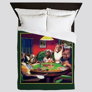Poker Dogs Bluff (green Border) Queen Duvet