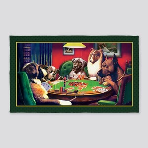 Poker Dogs Bluff (green Border) 3'x5' Area Rug