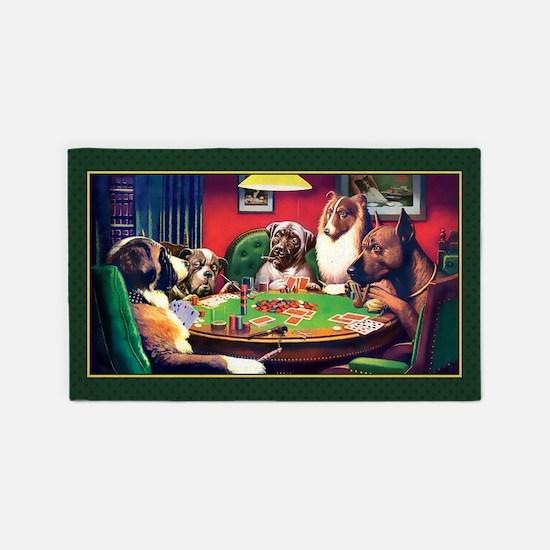 Poker Dogs Bluff (green Border) 3'x5' Area Rug