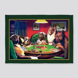Poker Dogs Bluff (green Border) 5'x7'area Rug