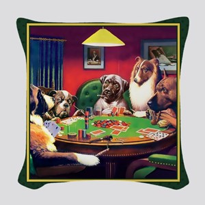 Poker Dogs Bluff (green Border) Woven Throw Pillow