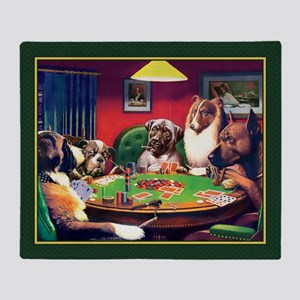Poker Dogs Bluff (green Border) Throw Blanket