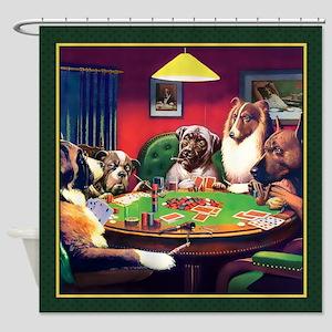 Poker Dogs Bluff (green Border) - Shower Curtain