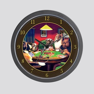Poker Dogs Bluff (brown Border) Wall Clock