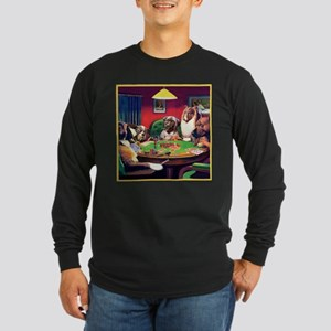Poker Dogs Bluff Long Sleeve Dark T-Shirt