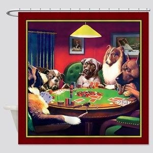 Poker Dogs Bluff (red Border) Shower Curtain