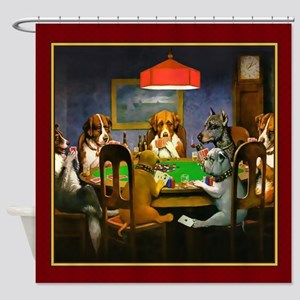 Poker Dogs Friend (red Border) Shower Curtain