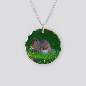 Tree Squirrel Necklace Circle Charm