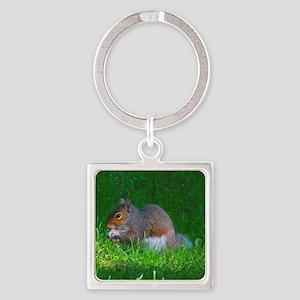Tree Squirrel Square Keychain