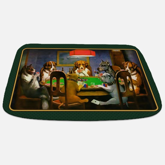 Poker Dogs Friend (green Border) Bathmat