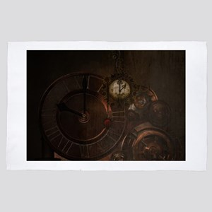 Brown steampunk clocks and gears 4' x 6' Rug