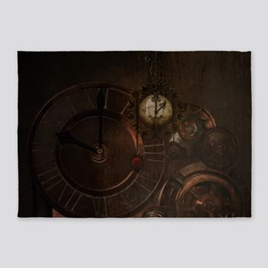 Brown steampunk clocks and gears 5'x7'Area Rug