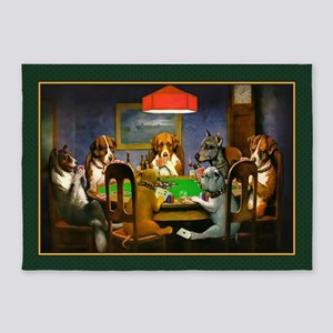 Poker Dogs Friend (green Border) 5'x7'area Rug