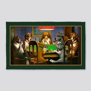 Poker Dogs Friend (green Border) 3'x5' Area Rug