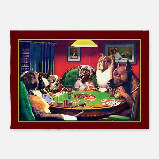 Poker Dogs Friend (red Border) 5'x7'area Rug