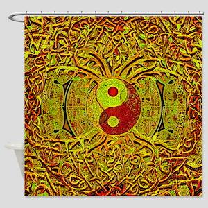 Tree Of Life Yin Yang Mandala In Shower Curtain