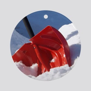Red Shovel in the Snow Round Ornament