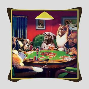 Poker Dogs Bluff (brown) Woven Throw Pillow
