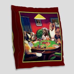 Poker Dogs Bluff (red) Burlap Throw Pillow