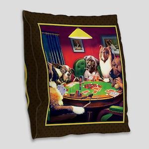 Poker Dogs Bluff (brown) Burlap Throw Pillow