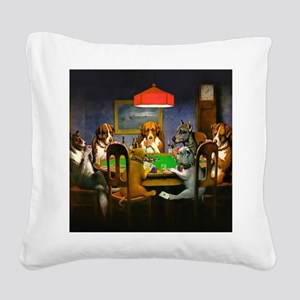 Poker Dogs Friend Square Canvas Pillow