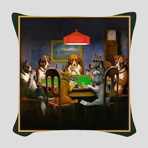 Poker Dogs Friend (green) Woven Throw Pillow