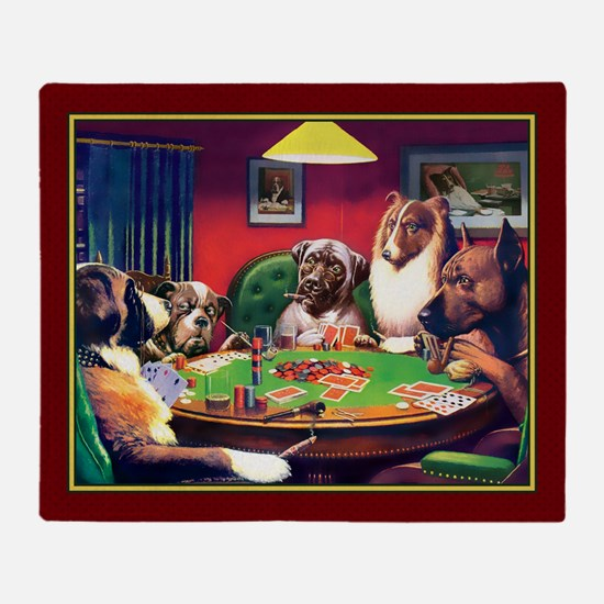Poker Dogs Bluff (red Border) Throw Blanket