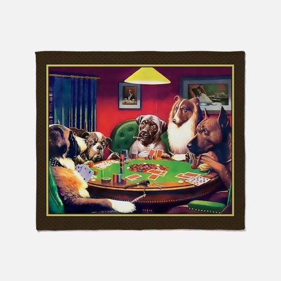 Poker Dogs Bluff (brown Border) Throw Blanket