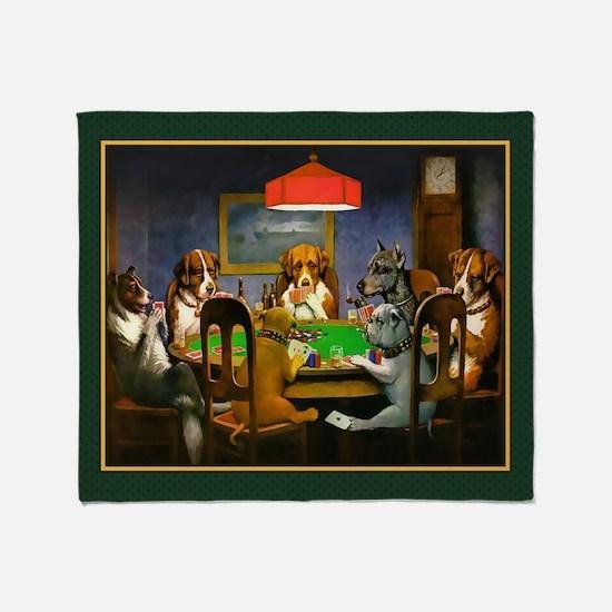 Poker Dogs Friend (green Border) Throw Blanket
