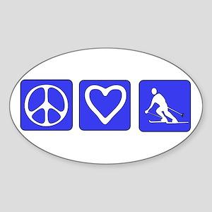 Peace Love Skiing Oval Sticker