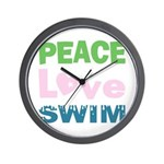 peace.love.swim Wall Clock