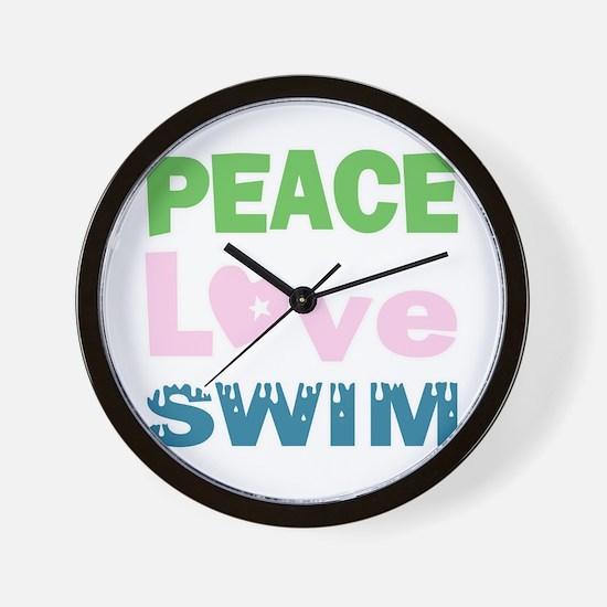 peace.love.swim Wall Clock