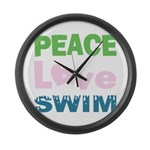 peace.love.swim Large Wall Clock