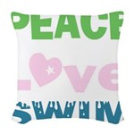 peace.love.swim Woven Throw Pillow