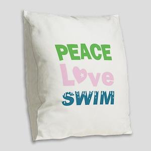 peace.love.swim Burlap Throw Pillow