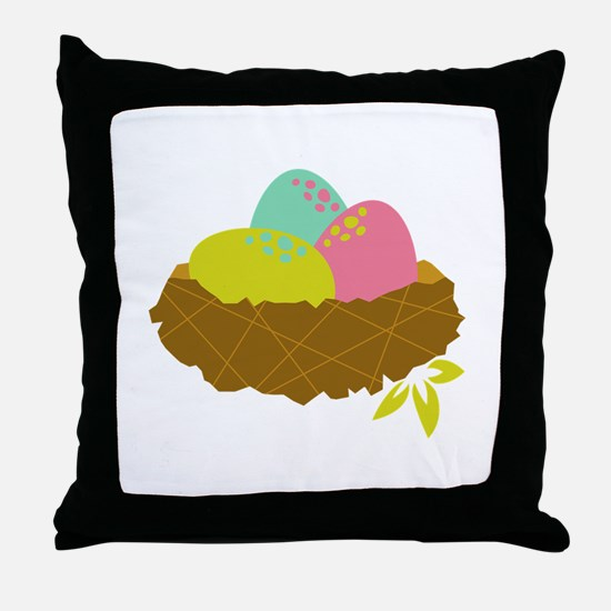 Easter Egg Nest Throw Pillow