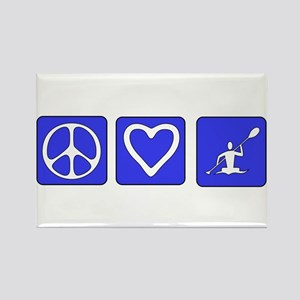 Peace Love Kayaking Rectangle Magnet
