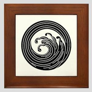 Swirl-like wave circle Framed Tile