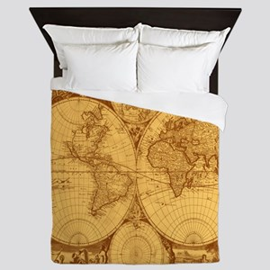 Exquisite Antique Atlas Map Queen Duvet