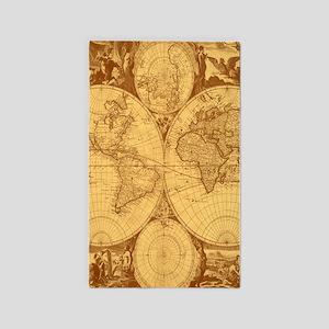 Exquisite Antique Atlas Map 3'x5' Area Rug