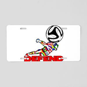 Goalie Defend Aluminum License Plate