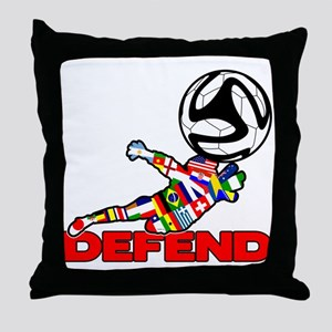 Goalie Defend Throw Pillow