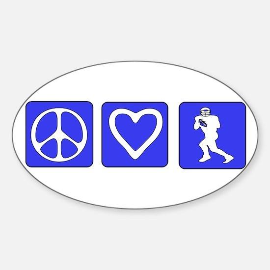 Peace Love Football Oval Decal