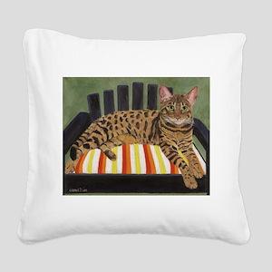 Bengal Cat Square Canvas Pillow