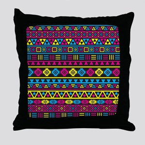 Aztec Influence Cmyb Throw Pillow