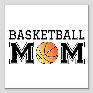 """Basketball mom Square Car Magnet 3"""" x 3"""""""