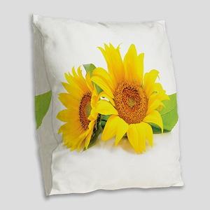 Sunflowers Burlap Throw Pillow
