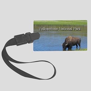 Wild American Buffalo in Yellows Large Luggage Tag