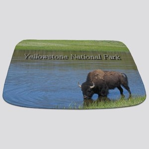 Wild American Buffalo in Yellowstone Natio Bathmat